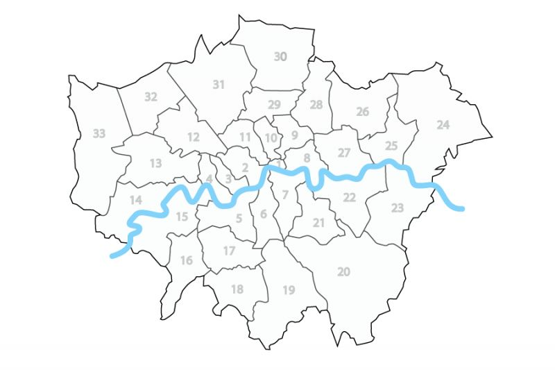 a map showing the boroughs and the course of the Thames through them